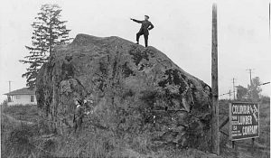 Man on top of the 'Big Rock' at 48th & Ferdinand, Seattle, 1901